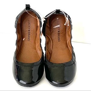 LUCKY BRAND Leather Ballet Flats Black Size 7M NEW